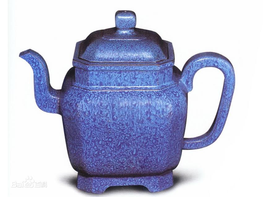 中国紫砂茗壶珍赏第71期——炉钧釉八方壶