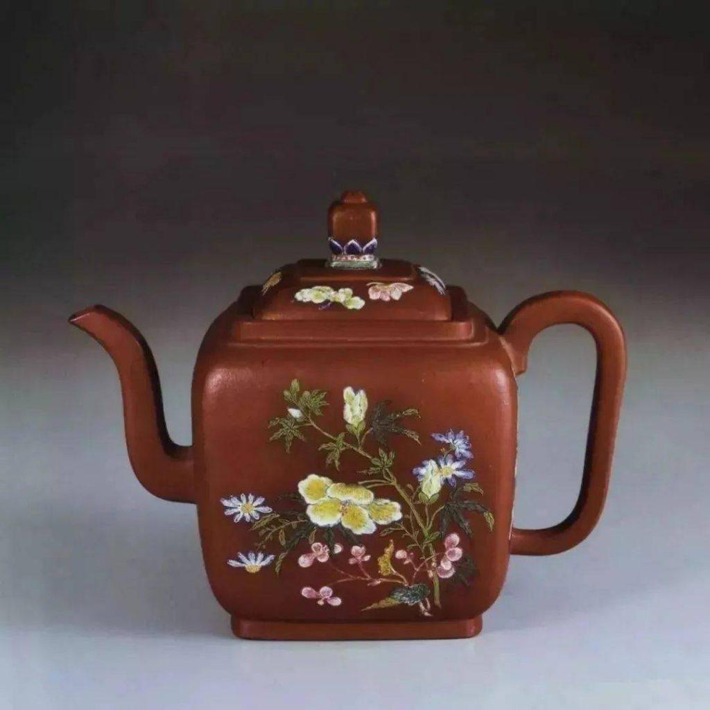 中国紫砂茗壶珍赏第68期——珐琅彩花卉纹方壶