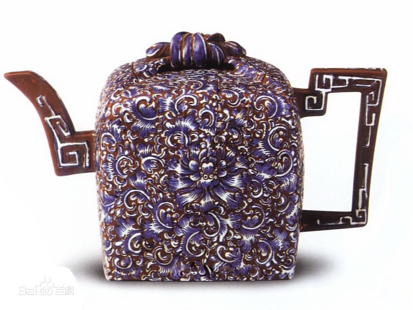 中国紫砂茗壶珍赏第78期——蓝彩印包壶