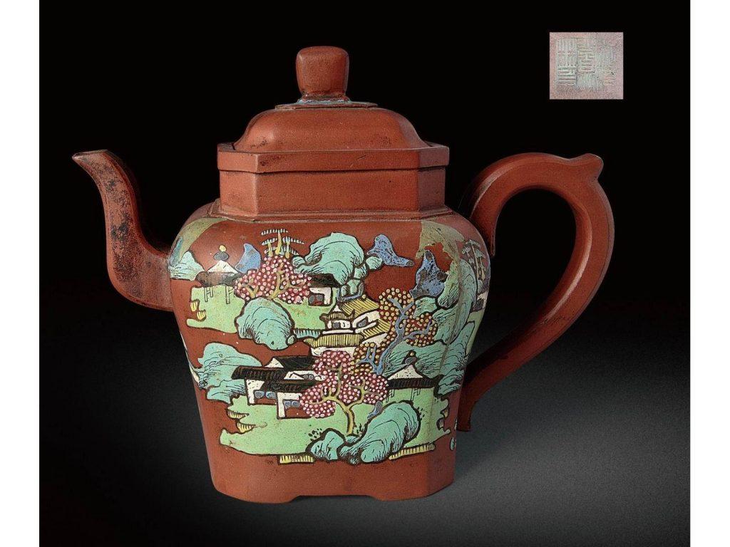 中国紫砂茗壶珍赏第76期——抽角八方彩绘壶