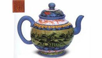 中国紫砂茗壶珍赏第75期——粉彩紫砂大壶