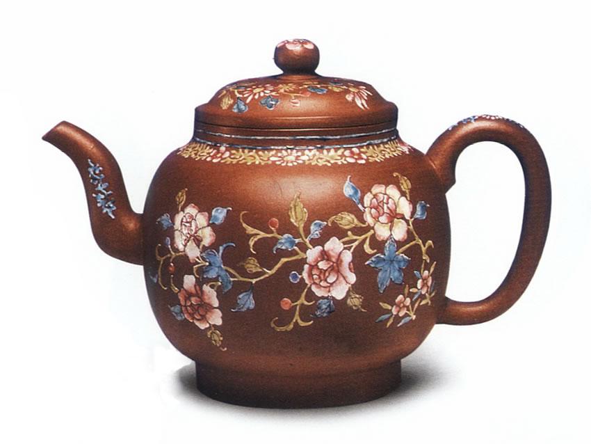 中国紫砂茗壶珍赏第77期——粉彩花卉纹贡灯壶